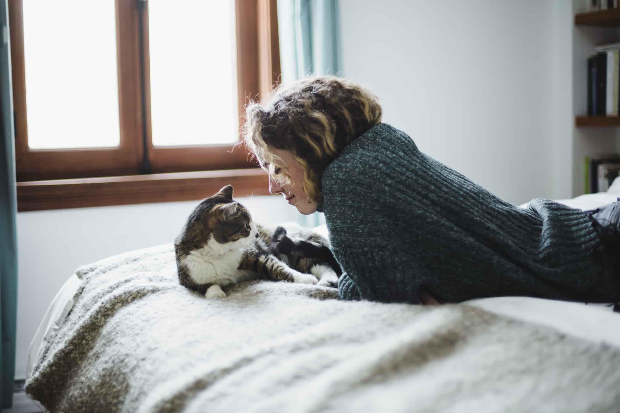 Happy woman with a cat on a bed knows beds and pet food are two things you shouldn't skimp on to save money