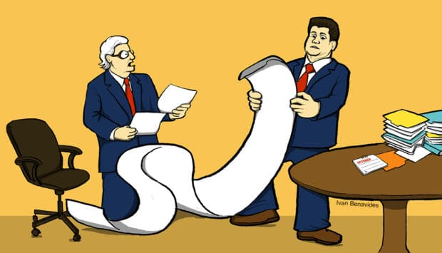 Republican Congress leaders Mitch McConnell and Paul Ryan review the 2300-page national budget they didn't read before passing it (illustrated)