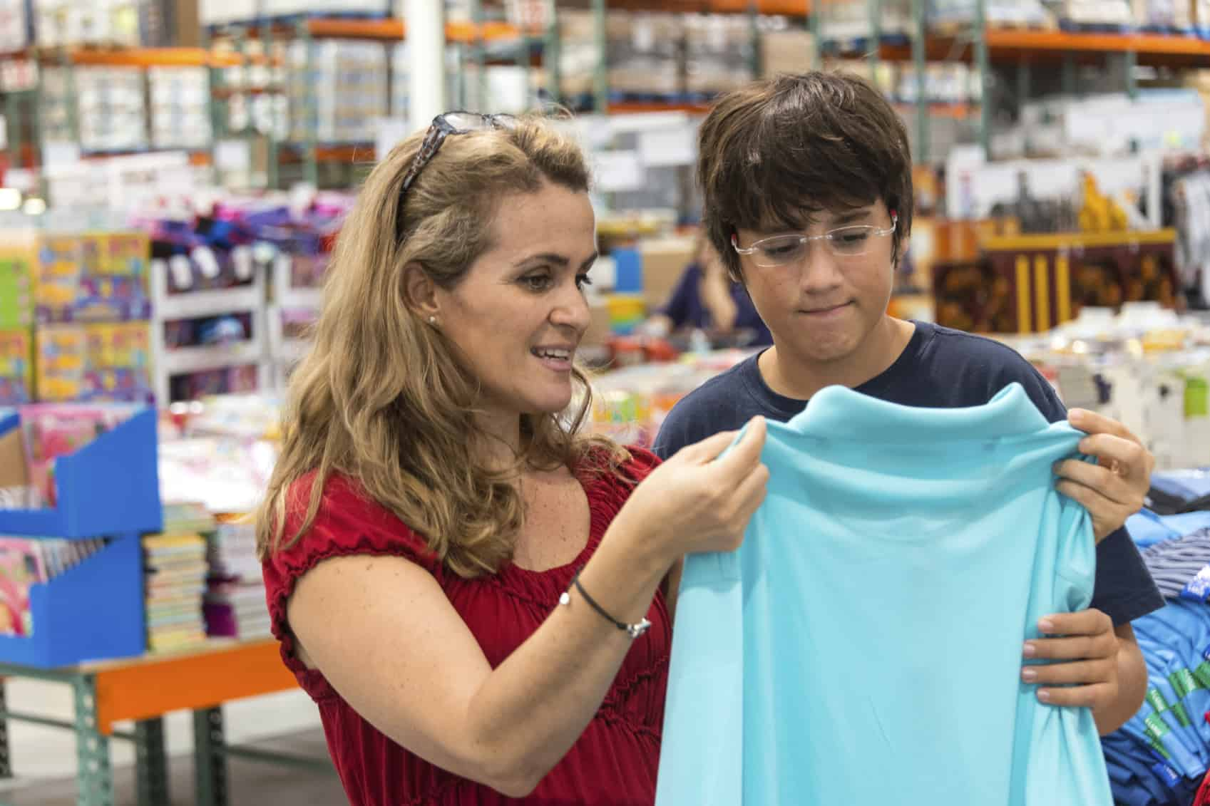 Mom shops with son