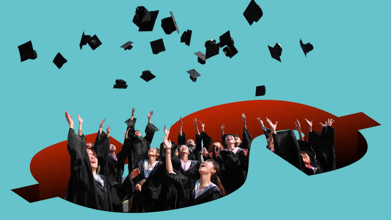 Many graduates celebrate falling into the student loan debt pit (illustrated)