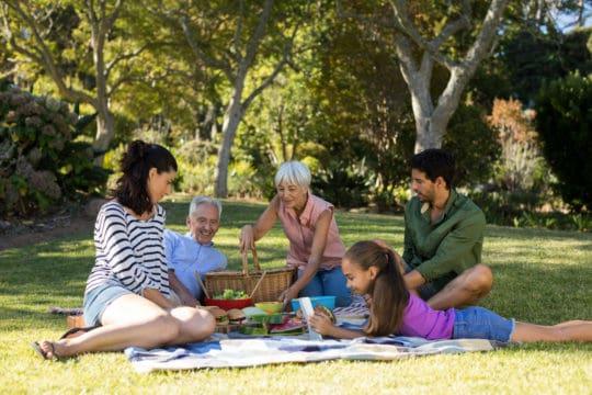 Familia teniendo un picnic en el parque