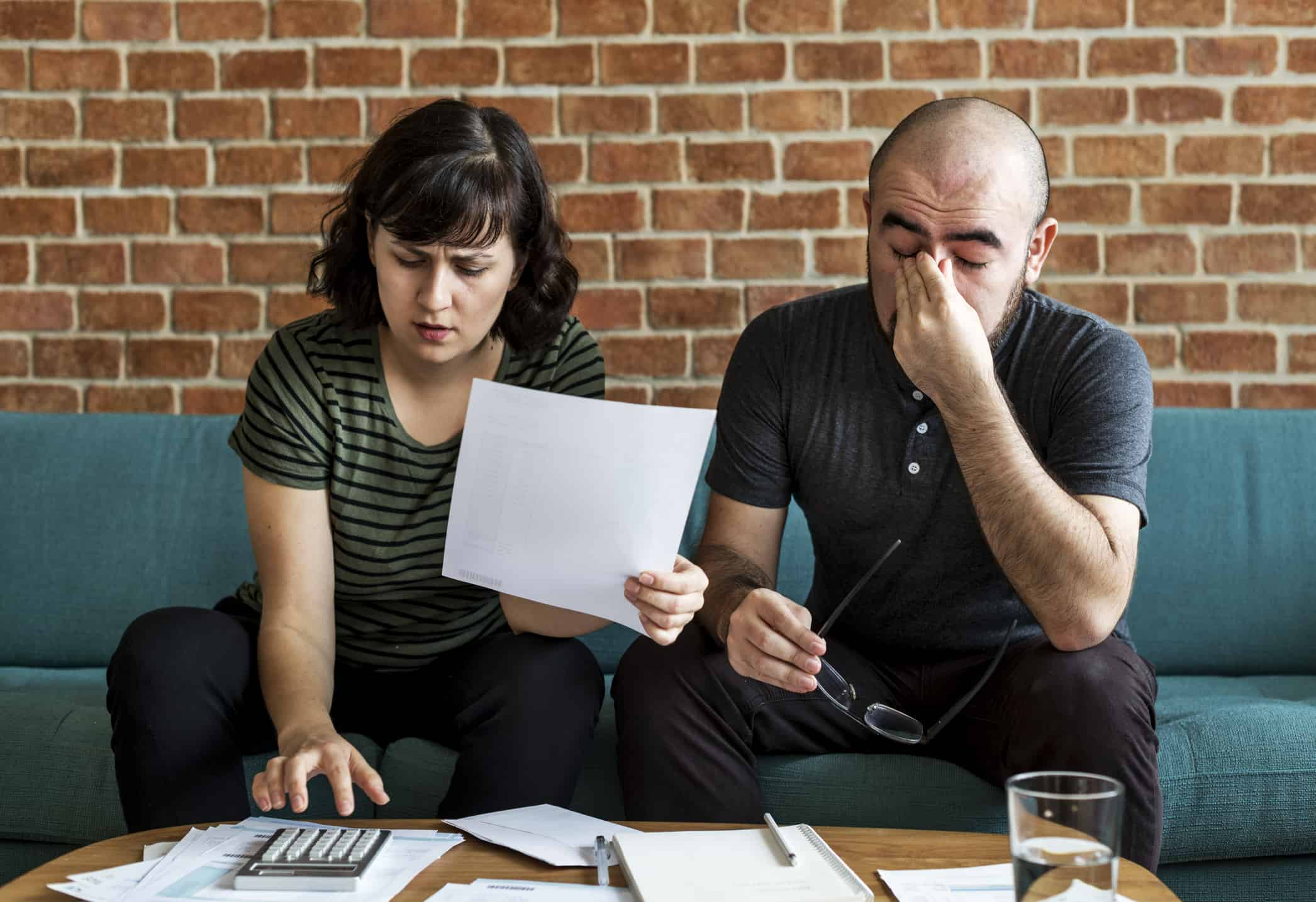 Couple managing debt