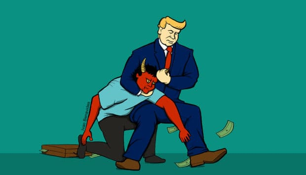 Illustration of President Trump with the devil in a headlock