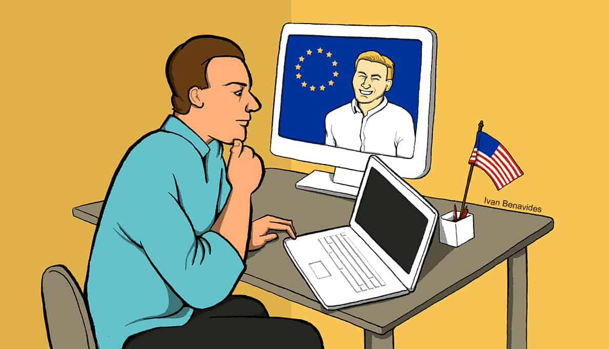 A man thinks about how the GDPR could affect Americans (illustrated)