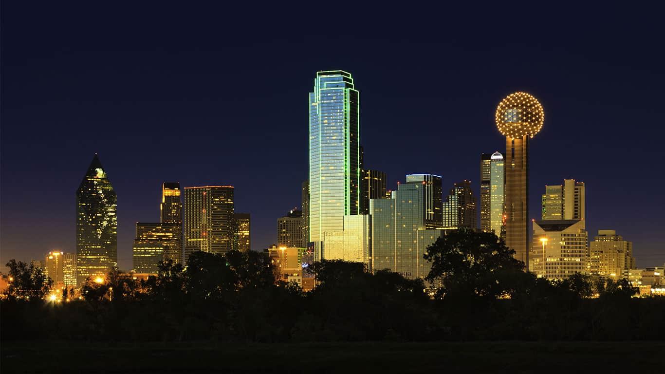 The Dallas, Texas skyline at dusk