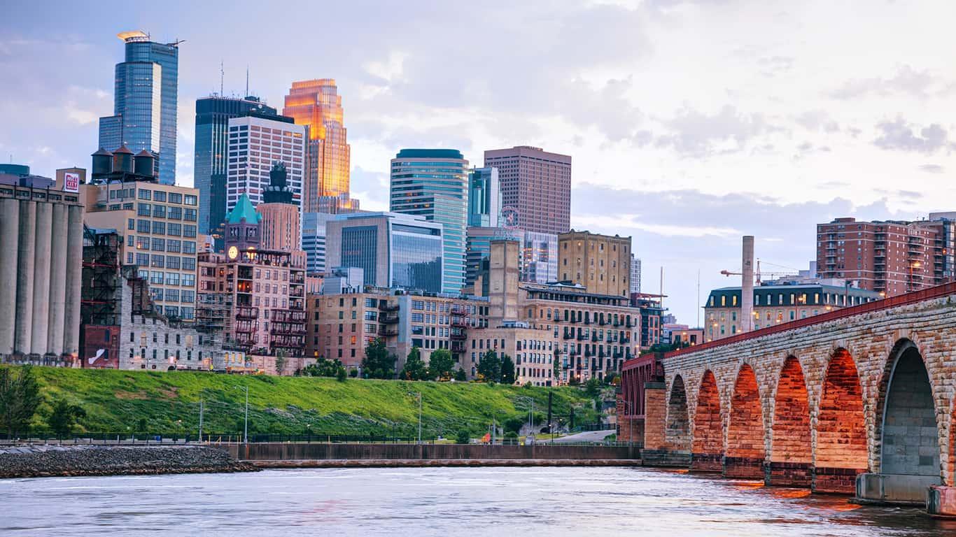 Minneapolis downtown across a bridge