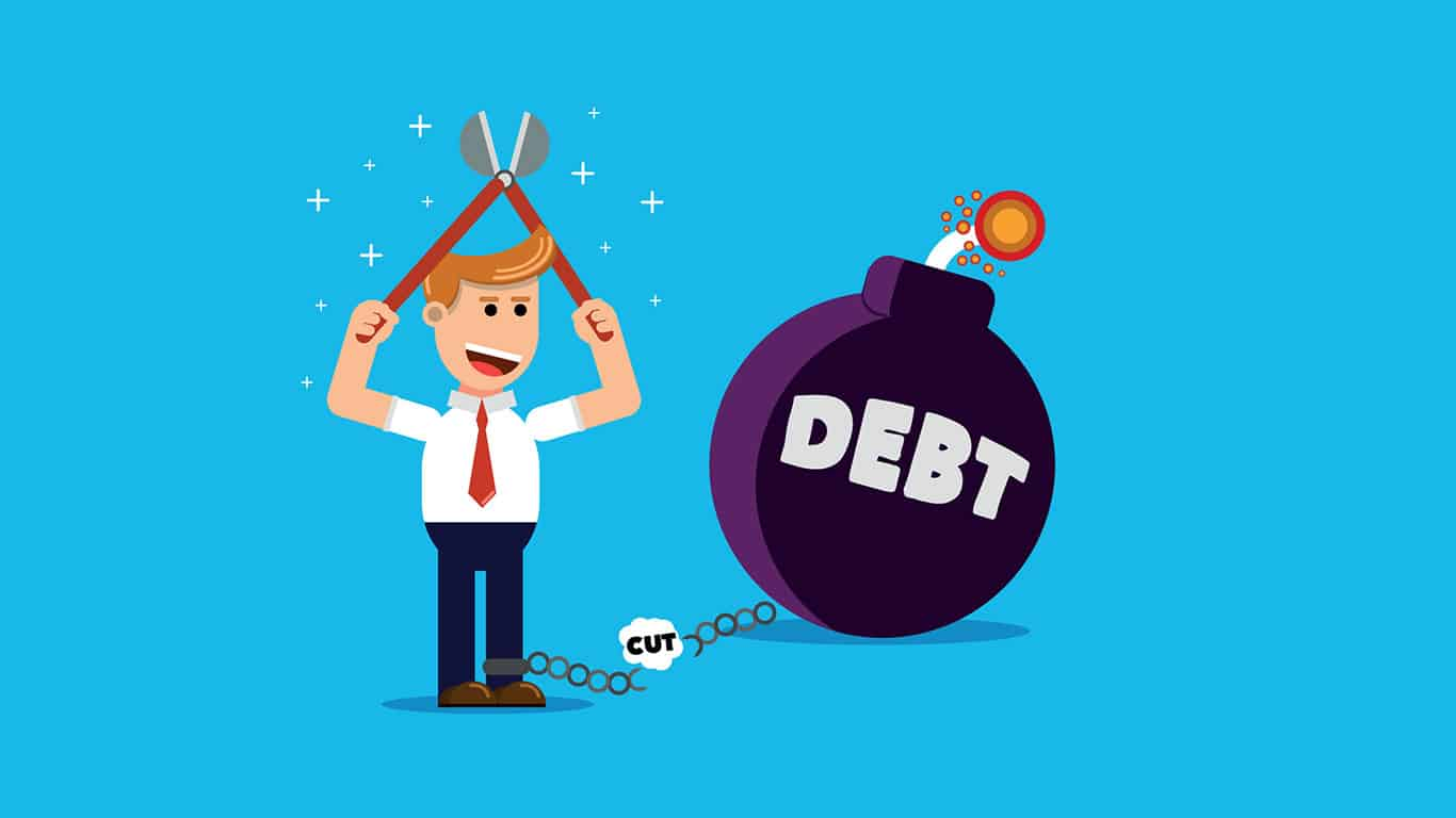 Cartoon guy cutting ball and chain of debt