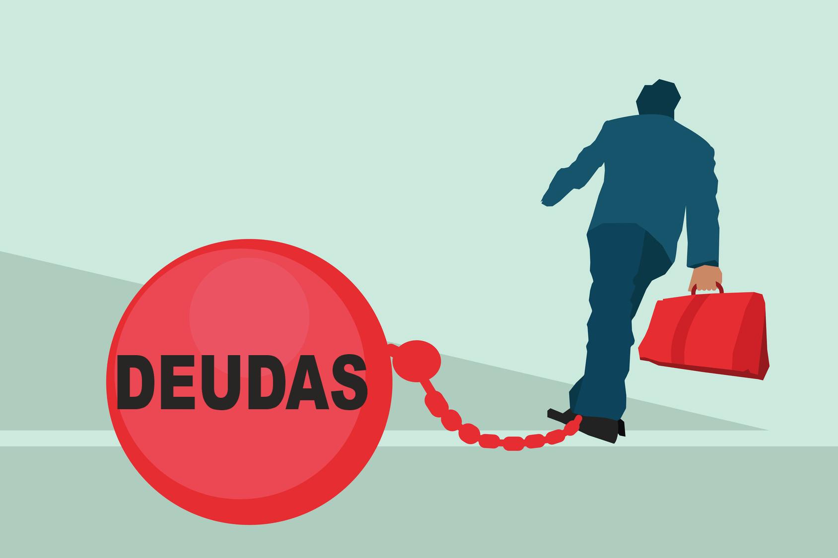man is held down by deudas