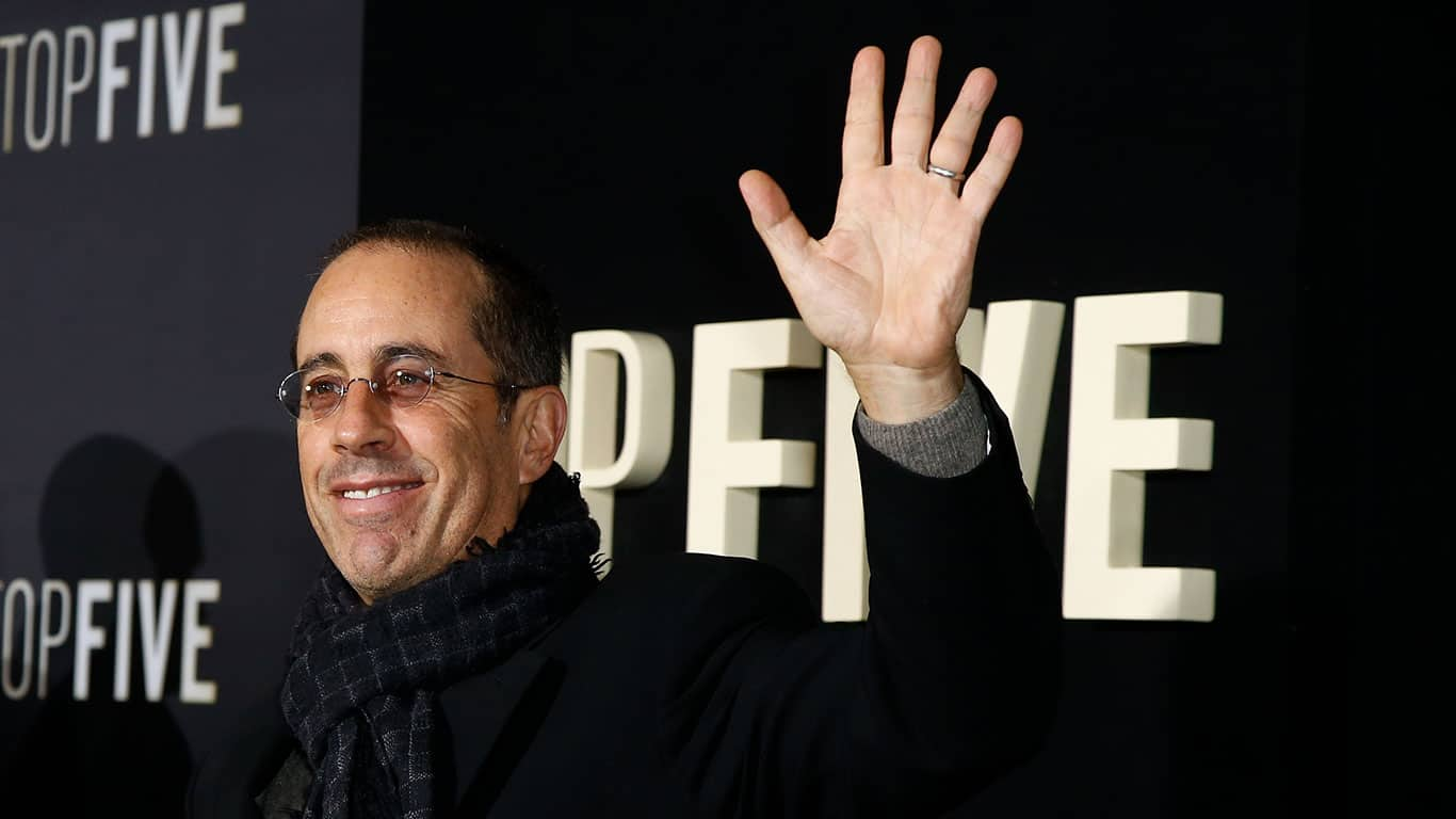 "Comedian Jerry Seinfeld attends the ""Top Five"" premiere at the Ziegfeld Theatre"