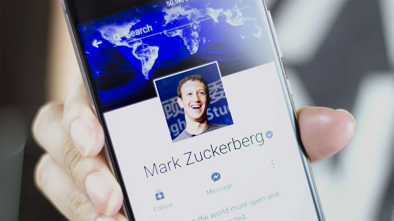 Mark Zuckerberg profile displayed on Facebook mobile