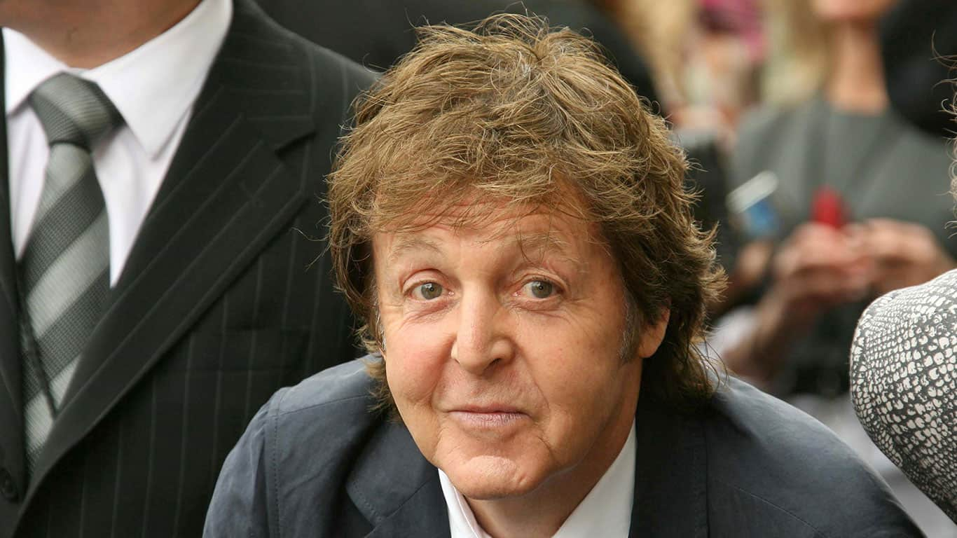 Sir Paul McCartney at the ceremony posthumously honoring George Harrison with a star on the Hollywood Walk of Fame