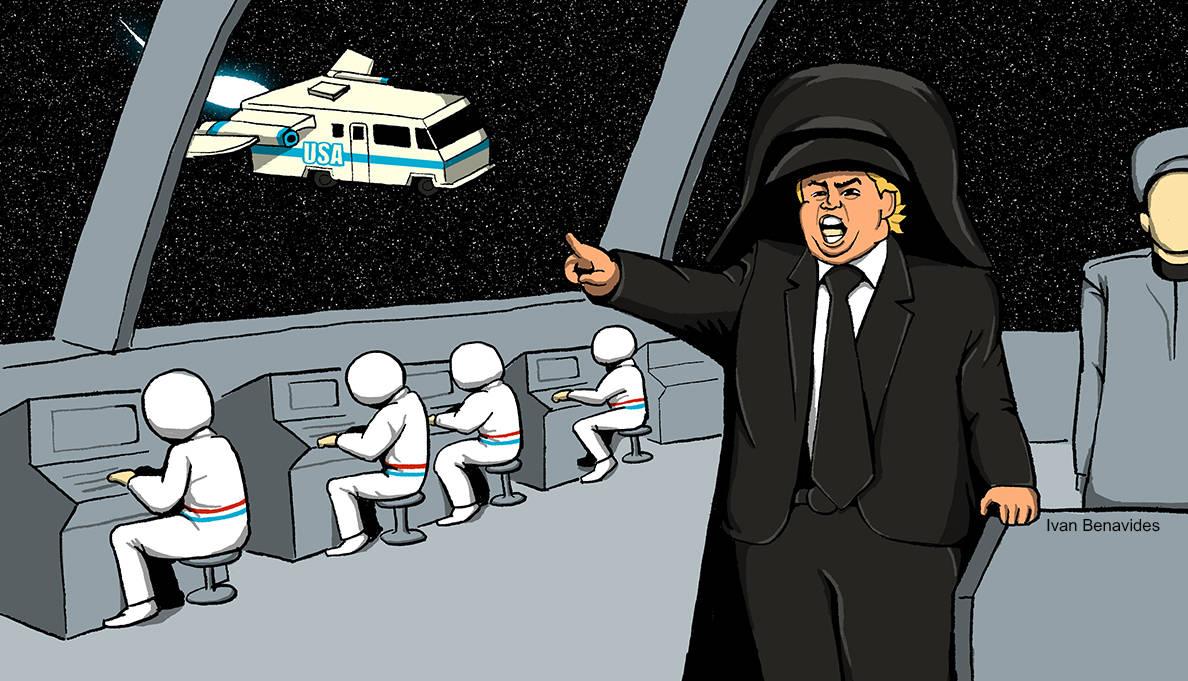 Illustration of President Trump wearing Darth Vader helmet, resembling the film Space Balls.