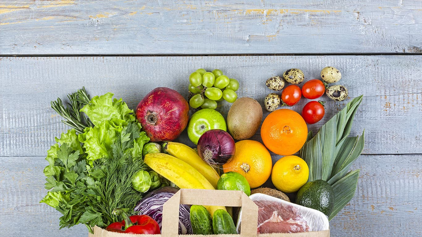 healthy, food, grocery, background, basket, bag, vegetables, fish, balanced, purchase.