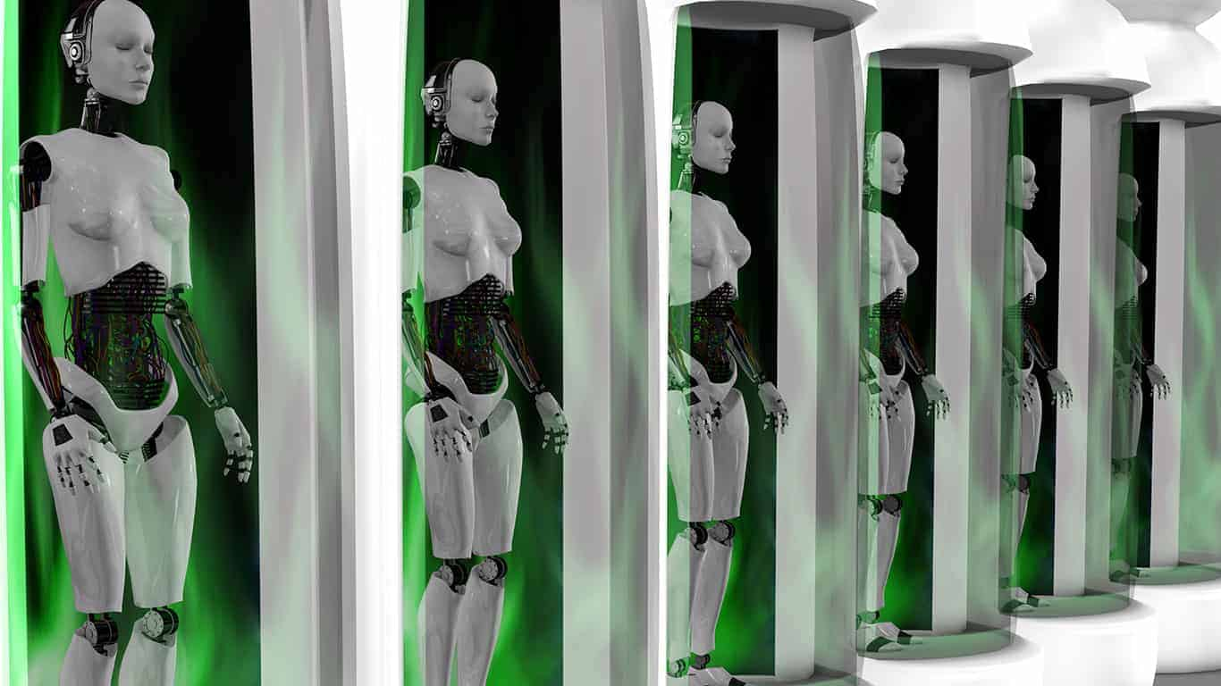 Female robots standing in sleeping chambers.