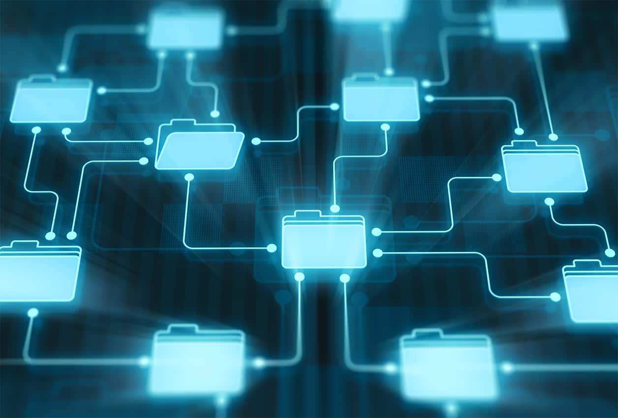 Folders network on digital display.