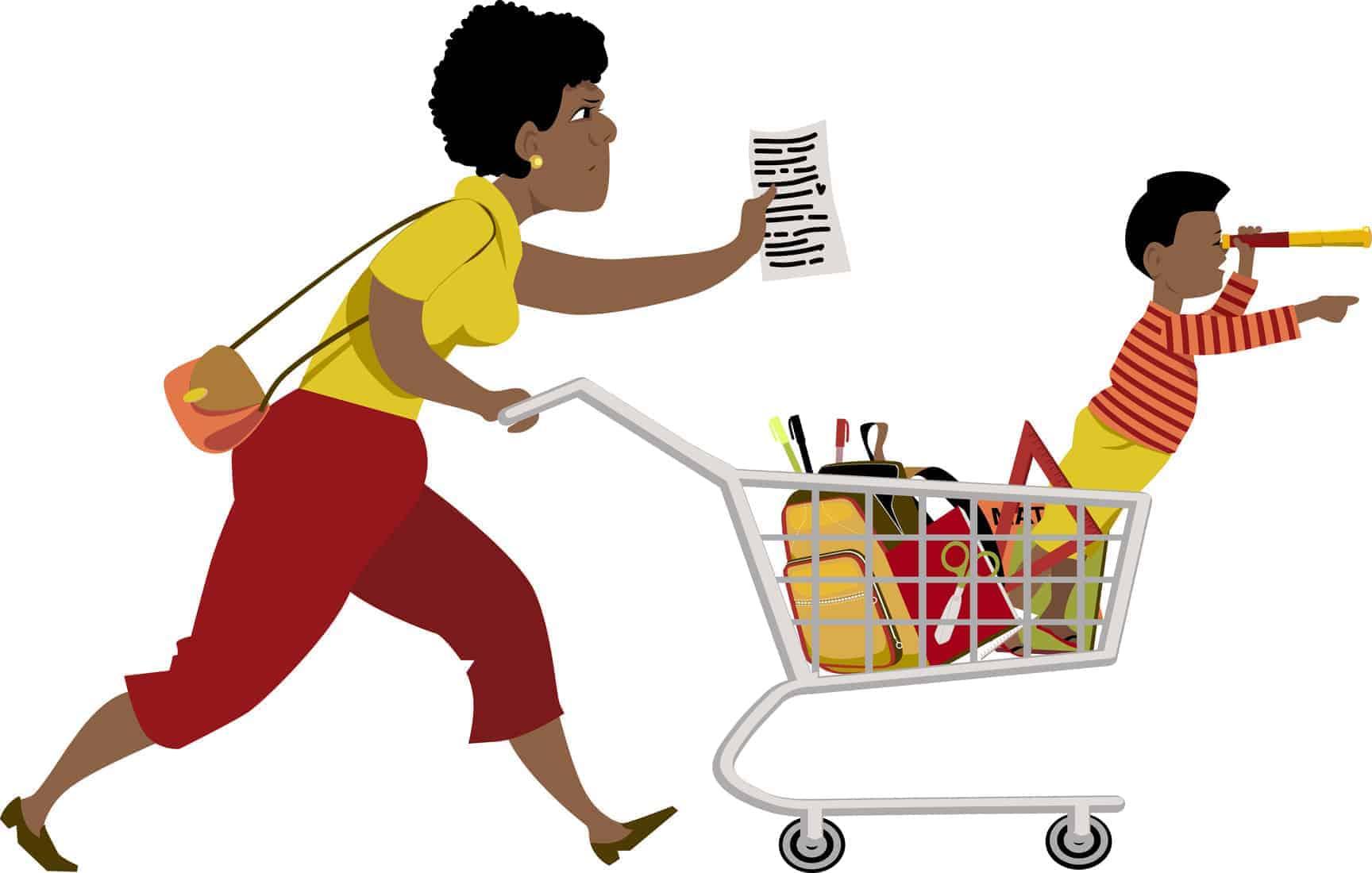 mama e hijo haciendo las compras para el regreso a clases