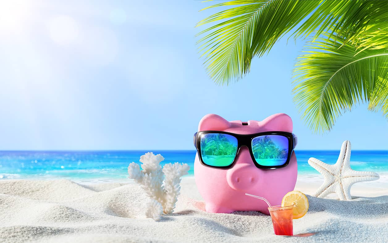 Piggy Bank With Drink On The Palm Beach represents American savings priorities.