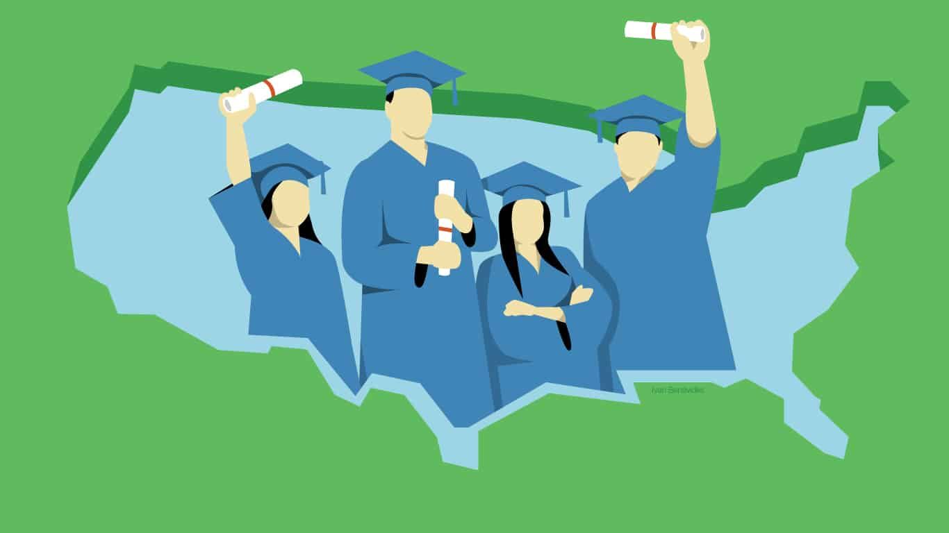 Illustration of college students in caps and gowns holding degrees.