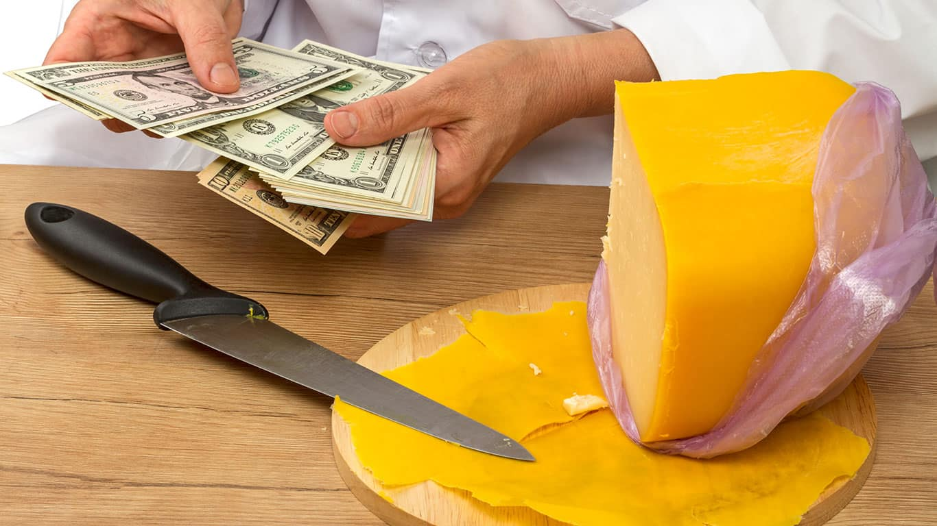 Sold cheese counts money