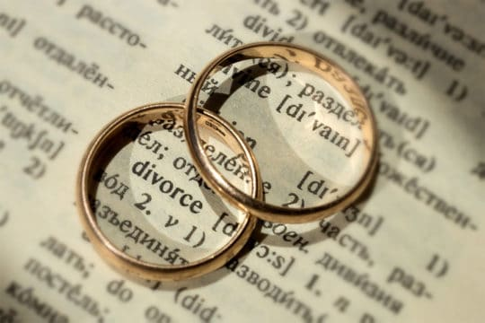 Two separate wedding rings next to the word divorce representing finances after divorce