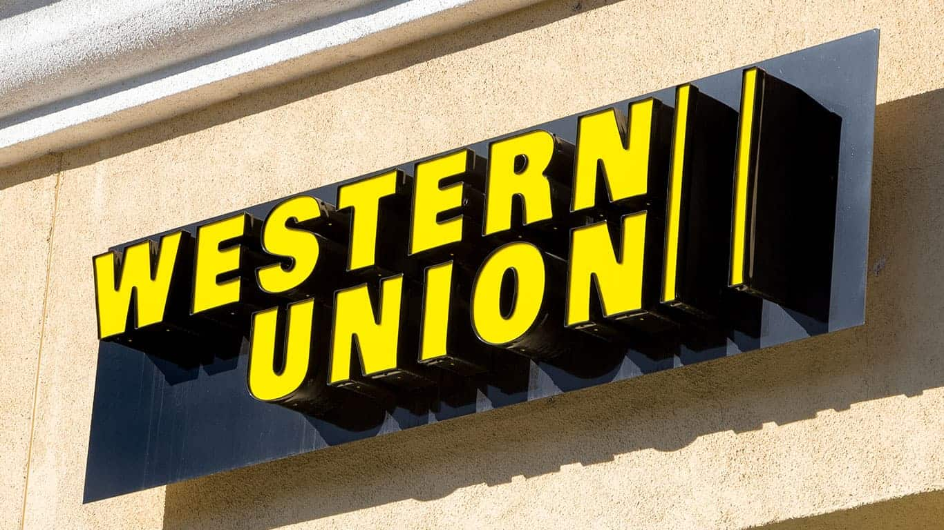 Western Union sign and logo. The Western Union Company is an American financial services and communications company.