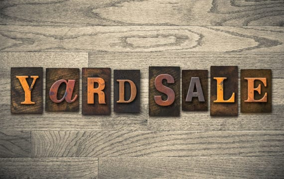 Are yard sales worth the work? Photo of yard sale wooden letterpress