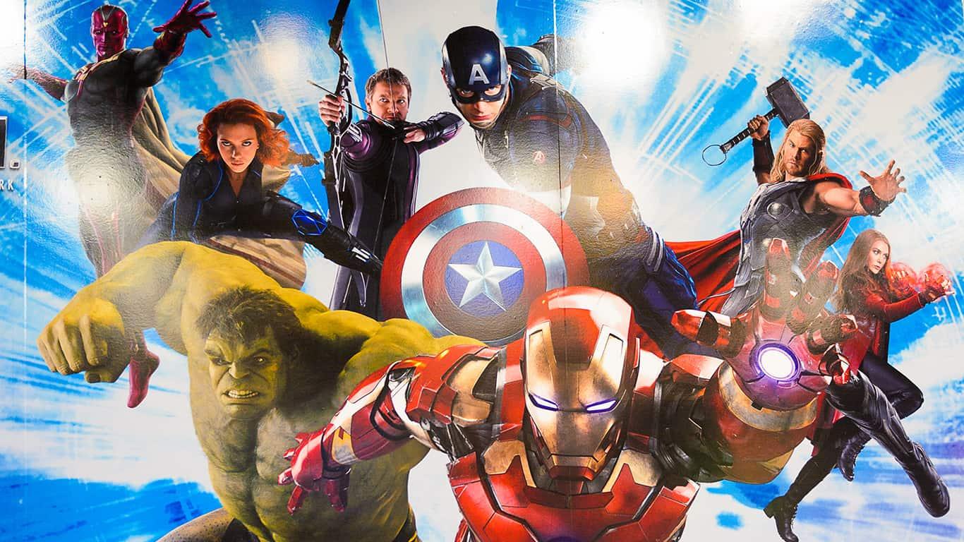 Marvel superheroes Iron Man, Thor, Hulk, Black Widow, Hawkeye, Vision, Vanda Scarlet Witch at the Avengers Station complex.