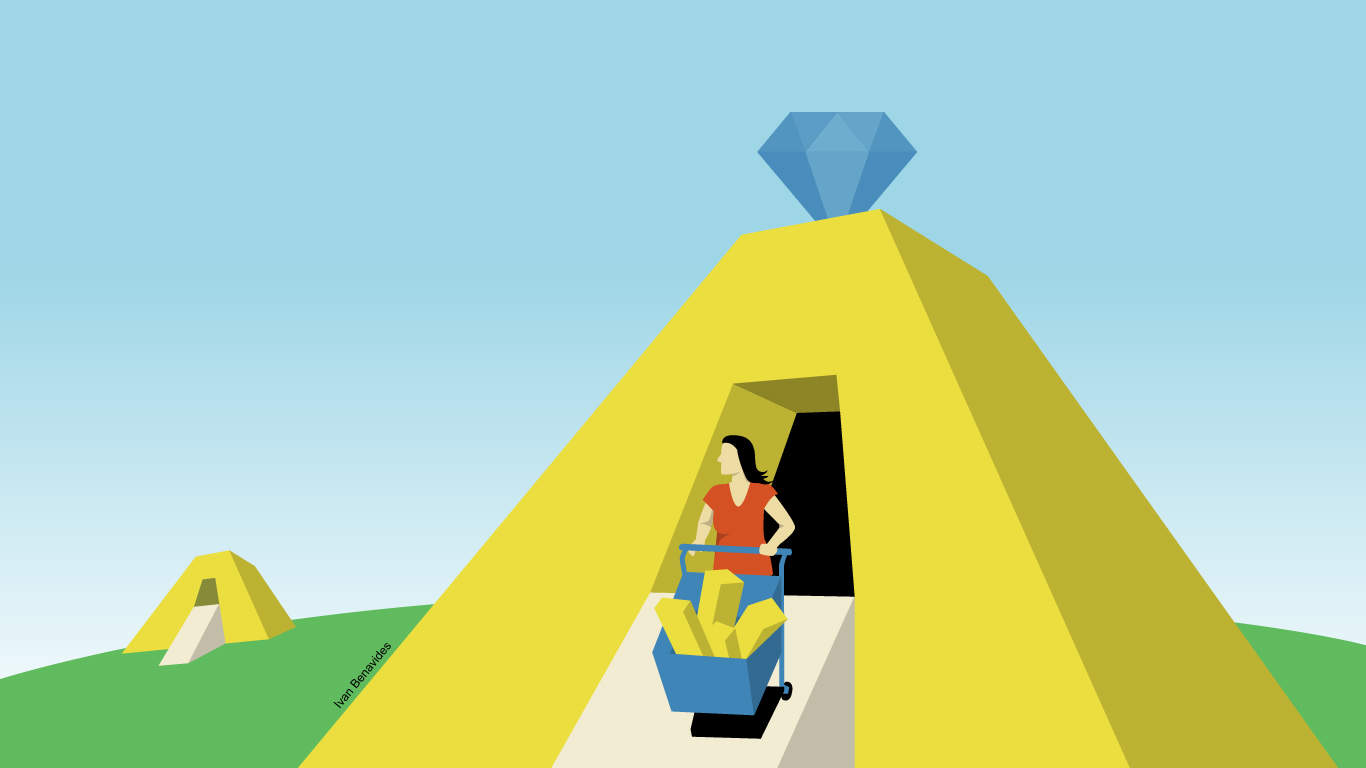Illustration of person wheeling wheelbarrow full of gold bars out of pyramid.