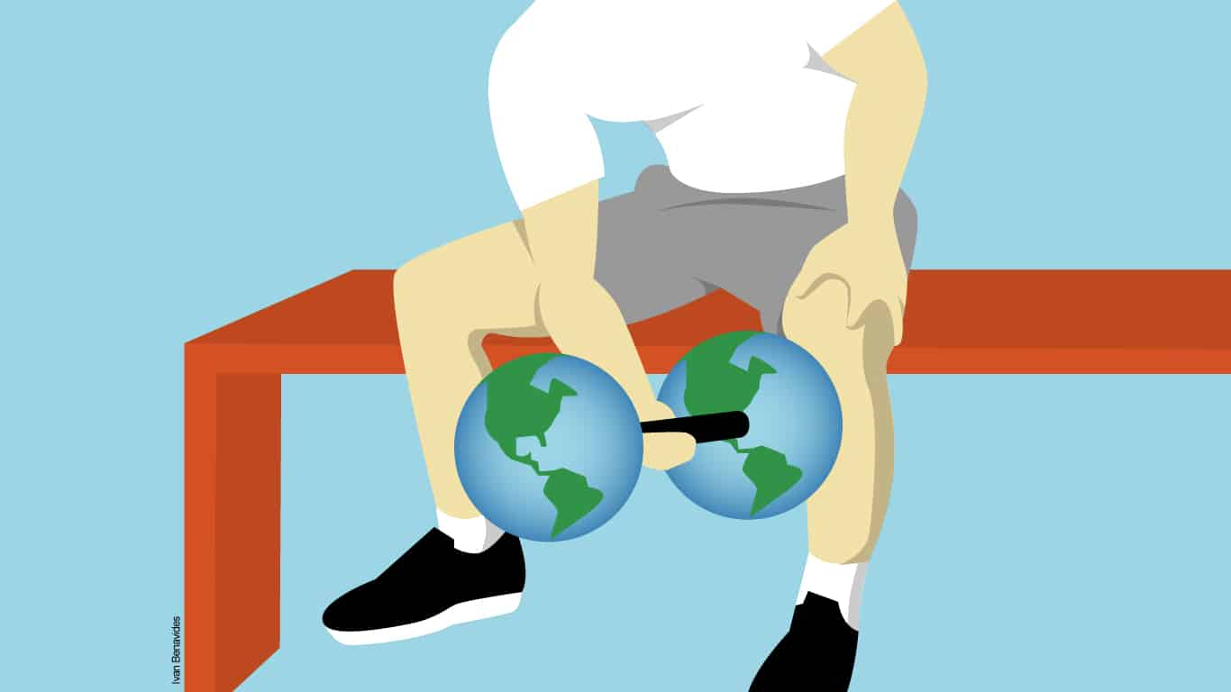 Illustration of man curling dumbbell with two globes of planet Earth as weights.