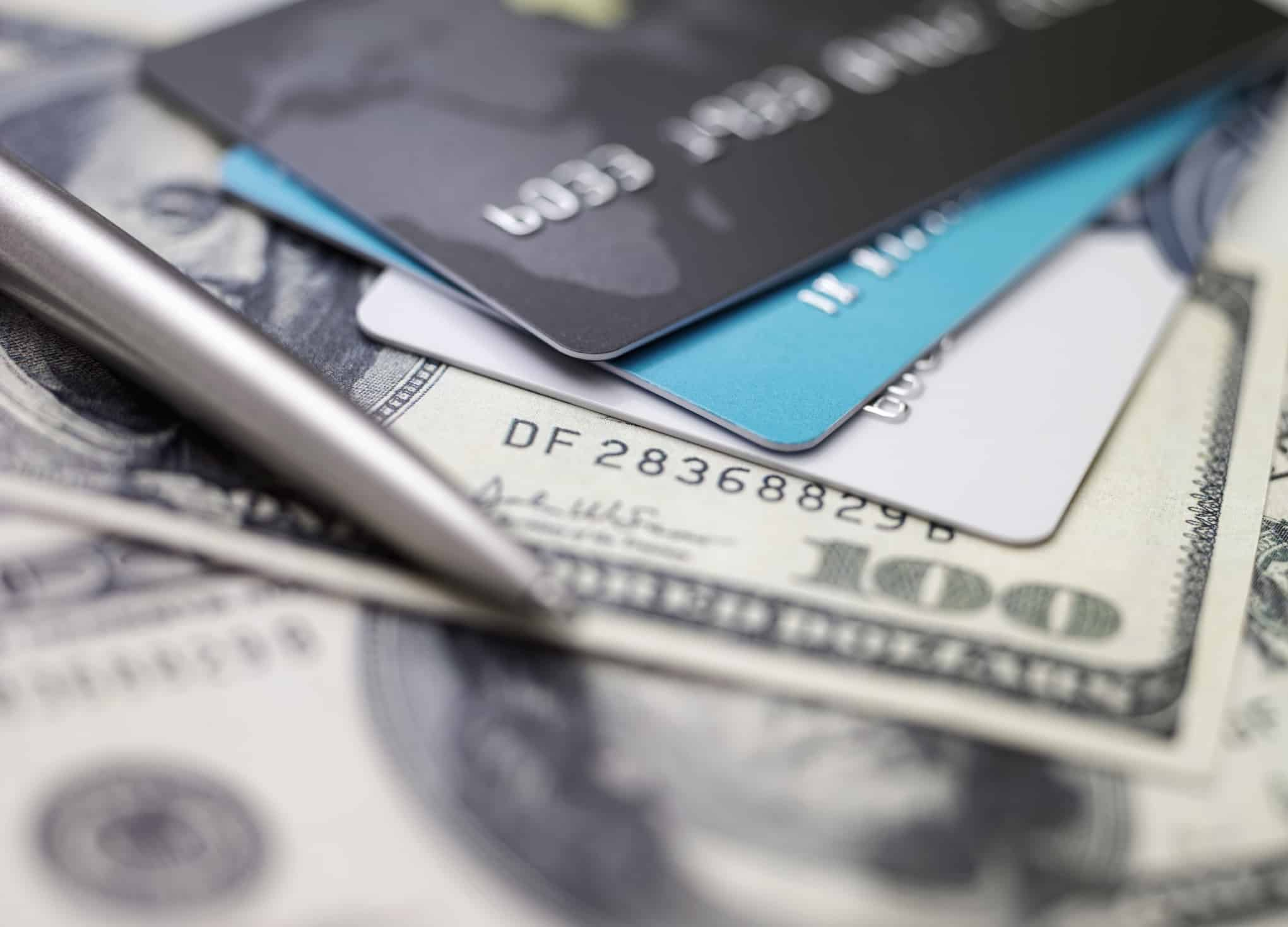 Credit card on dollars. Image concept of