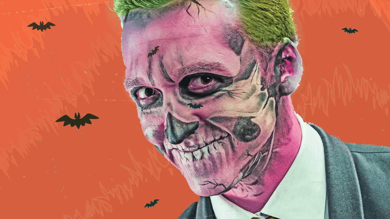 Man with zombie face paint.