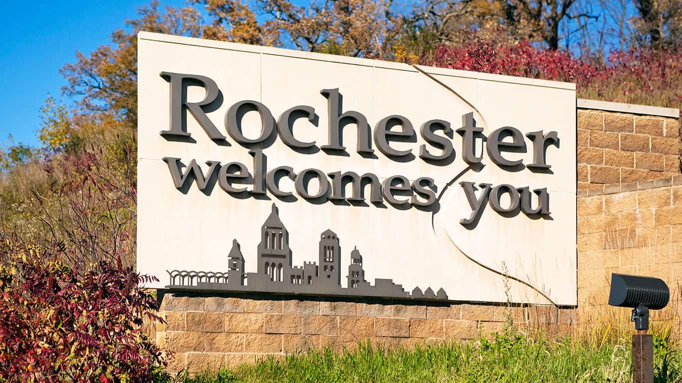 Rochester Minnesota Highway Entrance Welcome Sign