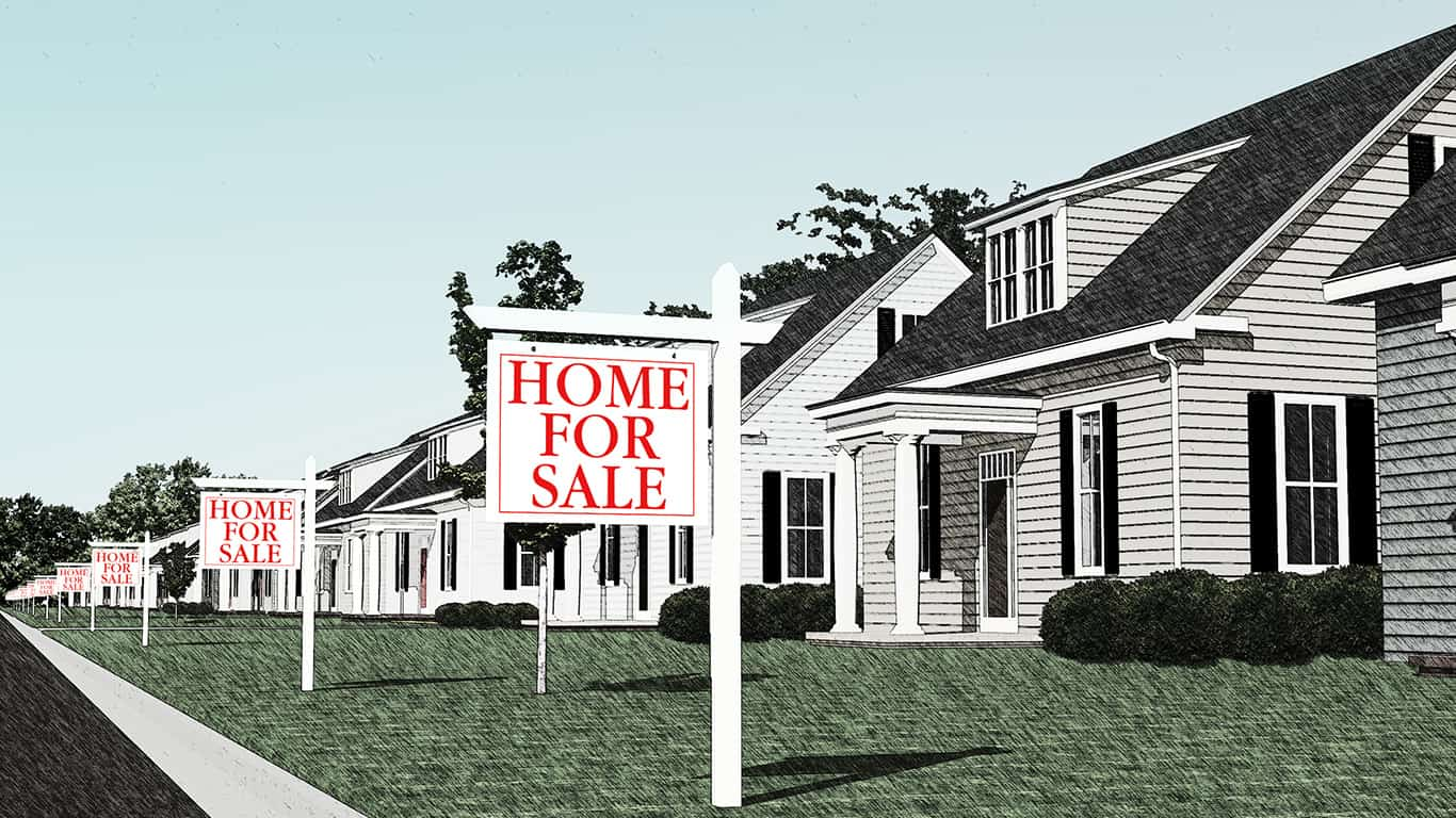 CG rendering of a row of houses with all of them up for sale.