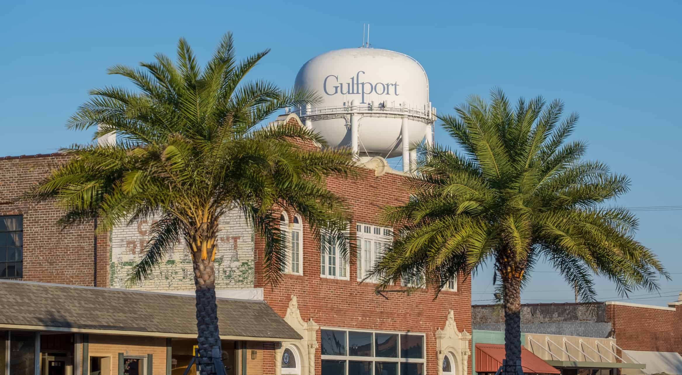 Water tower and buildings in Gulfport, Mississippi