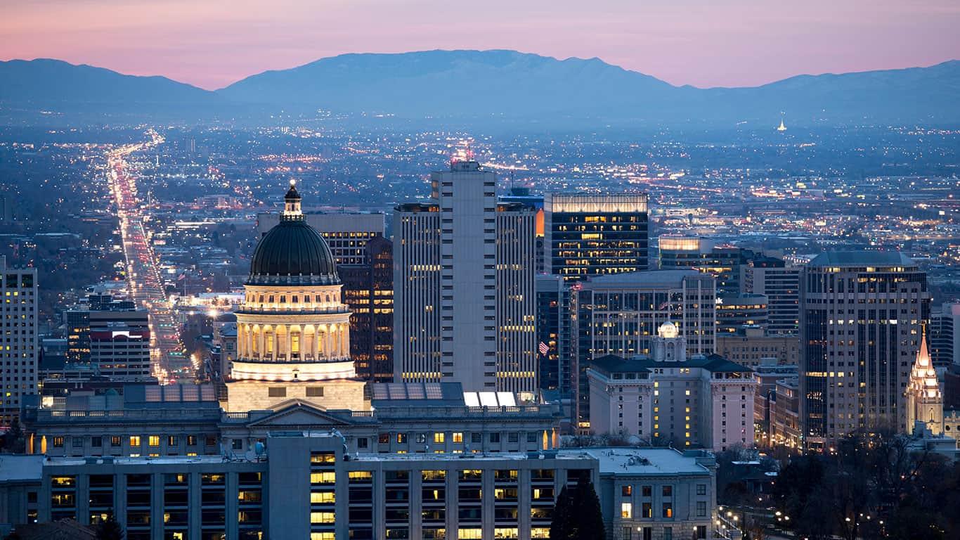 View of Salt lake City at dawn