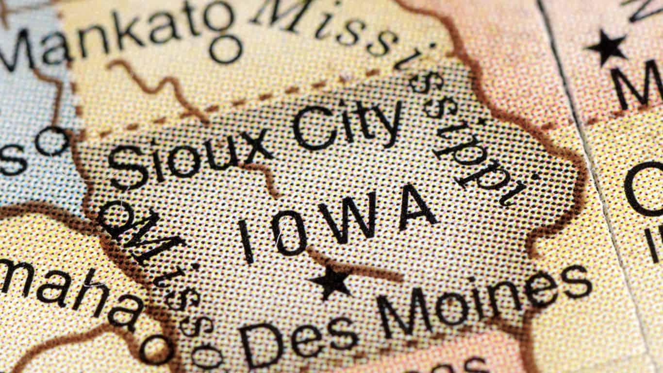 A close-up/macro photograph of Iowa from a desktop globe. Adobe RGB color profile.