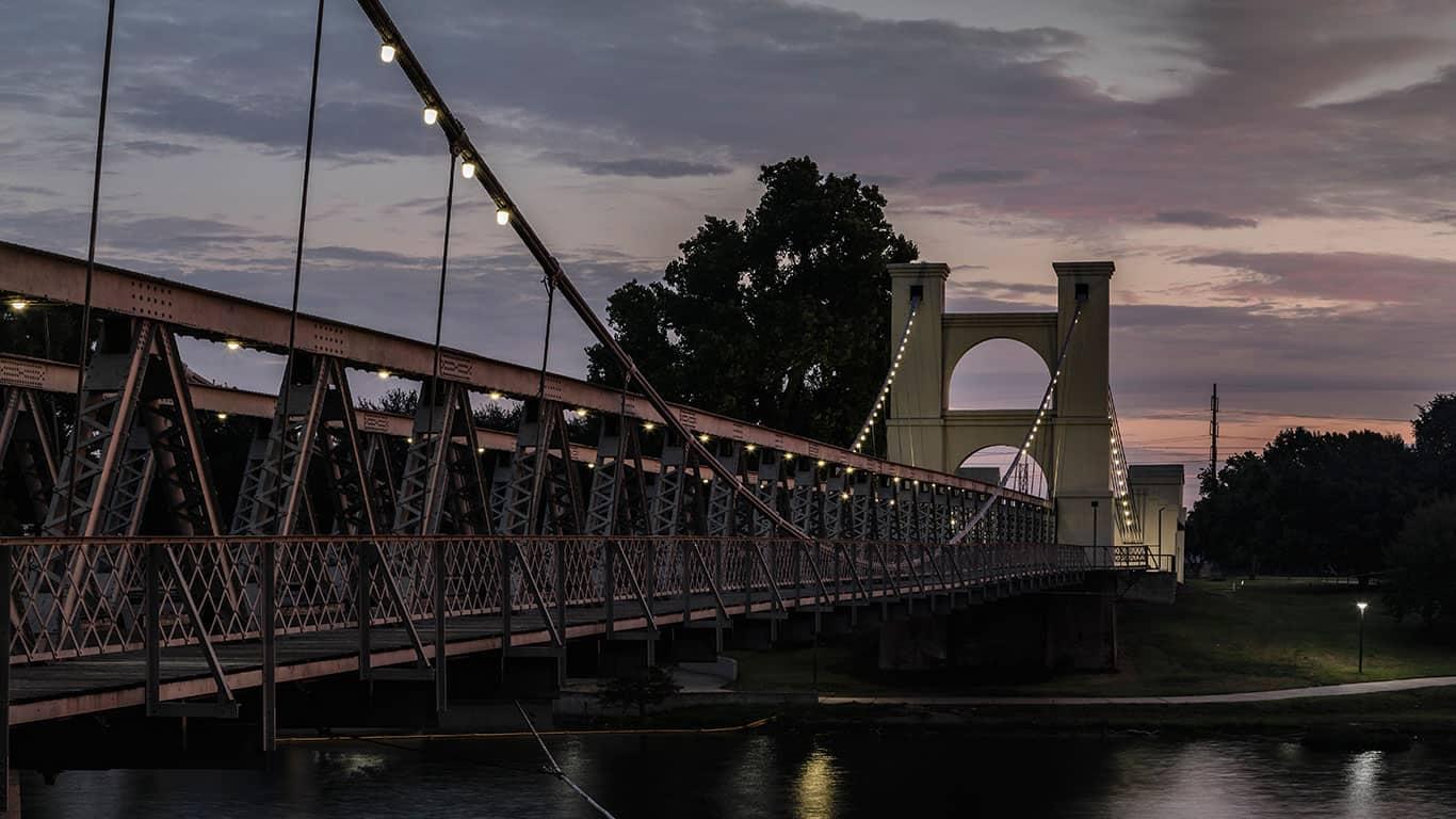 Waco Suspension Bridge crossing the Brazos River