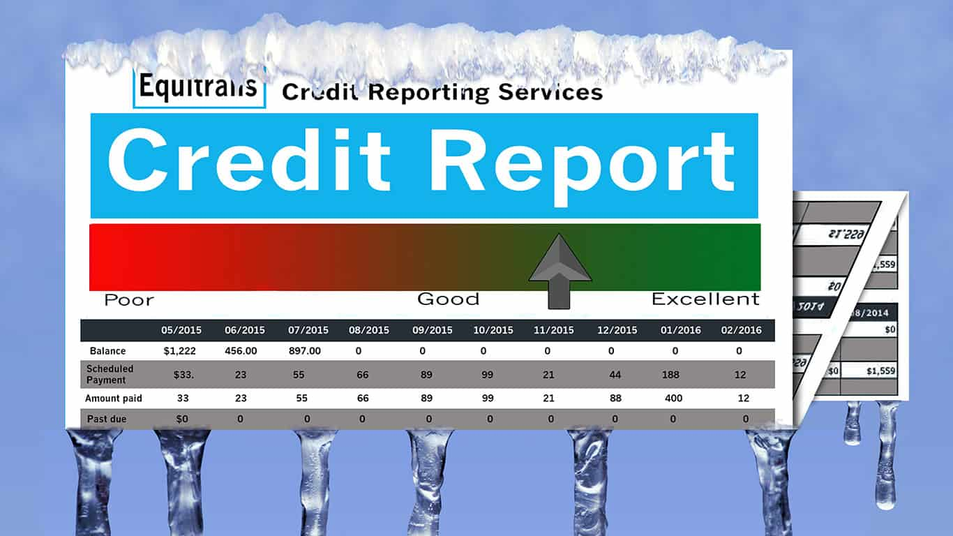 Frozen credit report with icicles and snow on mock report