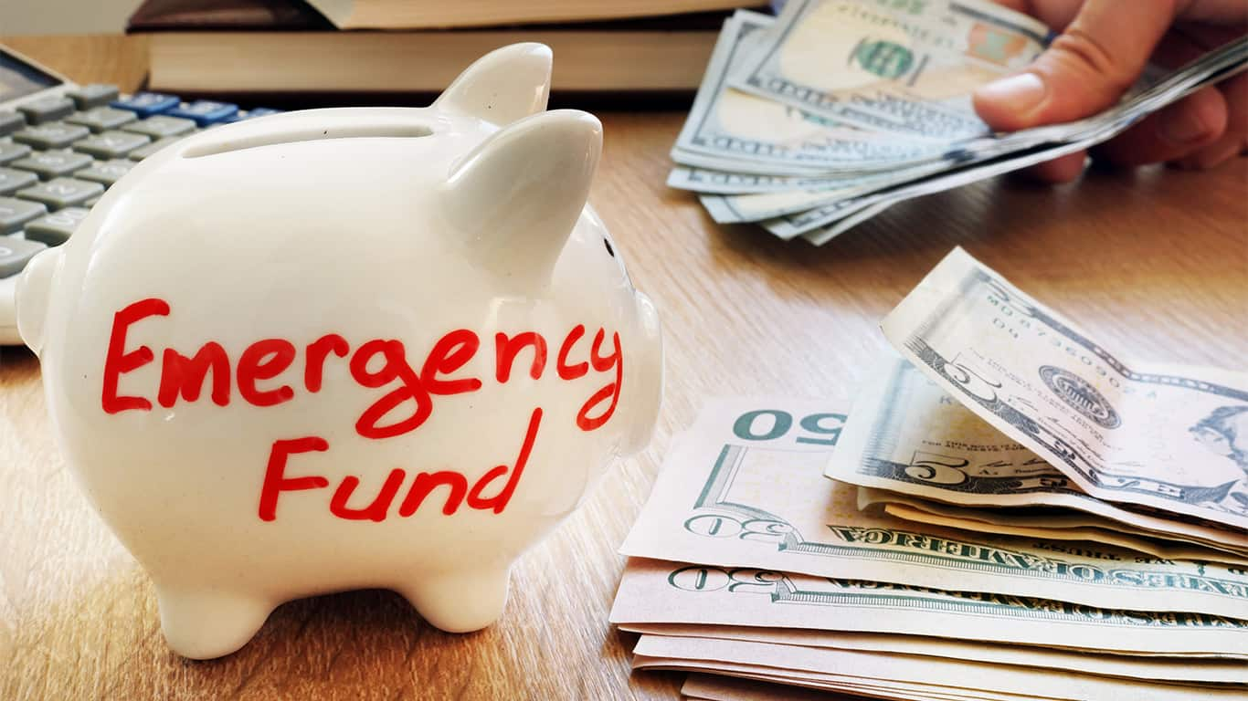 Emergency fund written on a piggy bank