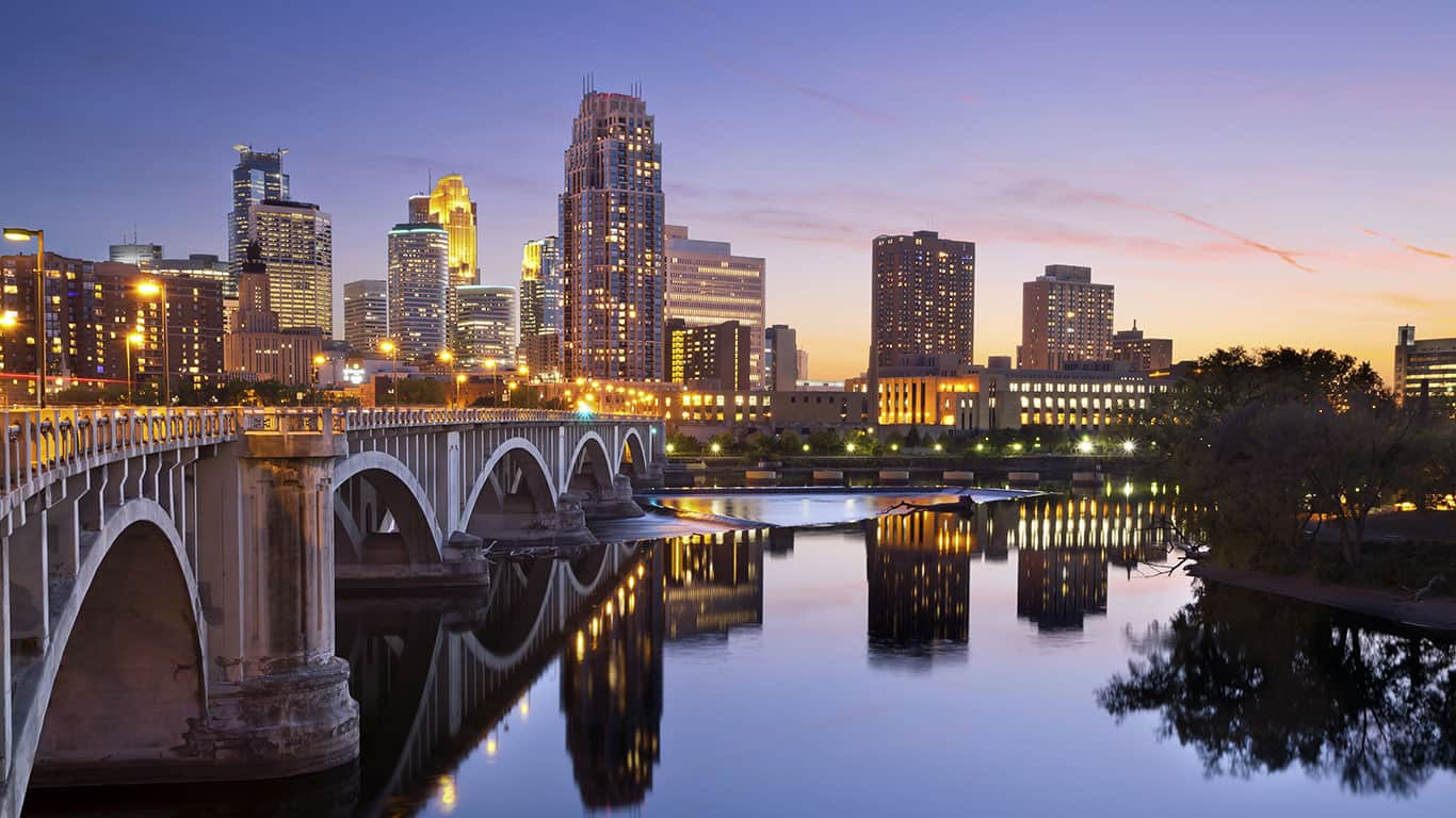 Image of Minneapolis downtown skyline at sunset