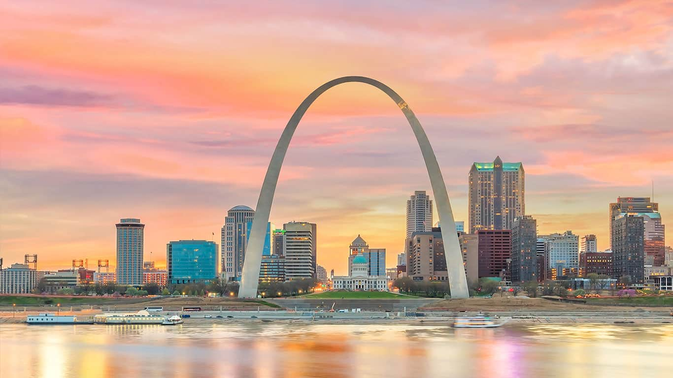 St. Louis downtown city skyline at twilight
