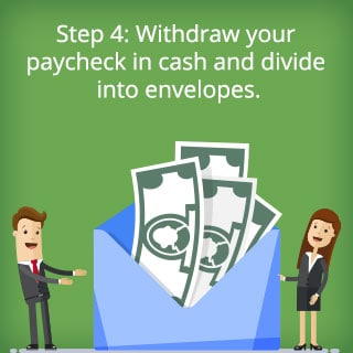 Step 4: Withdraw your paycheck in cash and divide into envelopes.