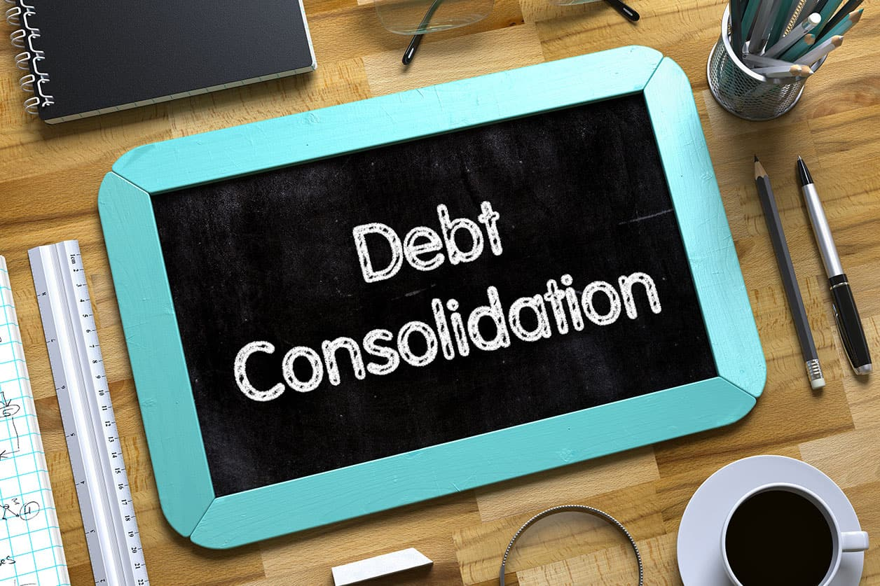 Debt Consolidation - Text on Small Chalkboard.