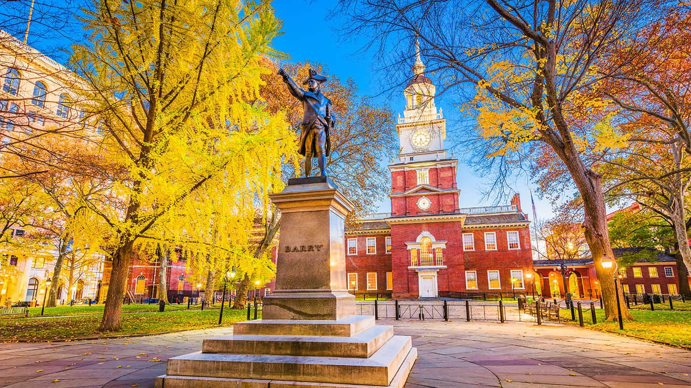 Philadelphia, Pennsylvania, USA at historic Independence Hall during autumn season