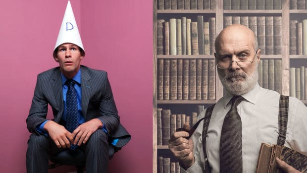 Collage of man with dunce cap and professor