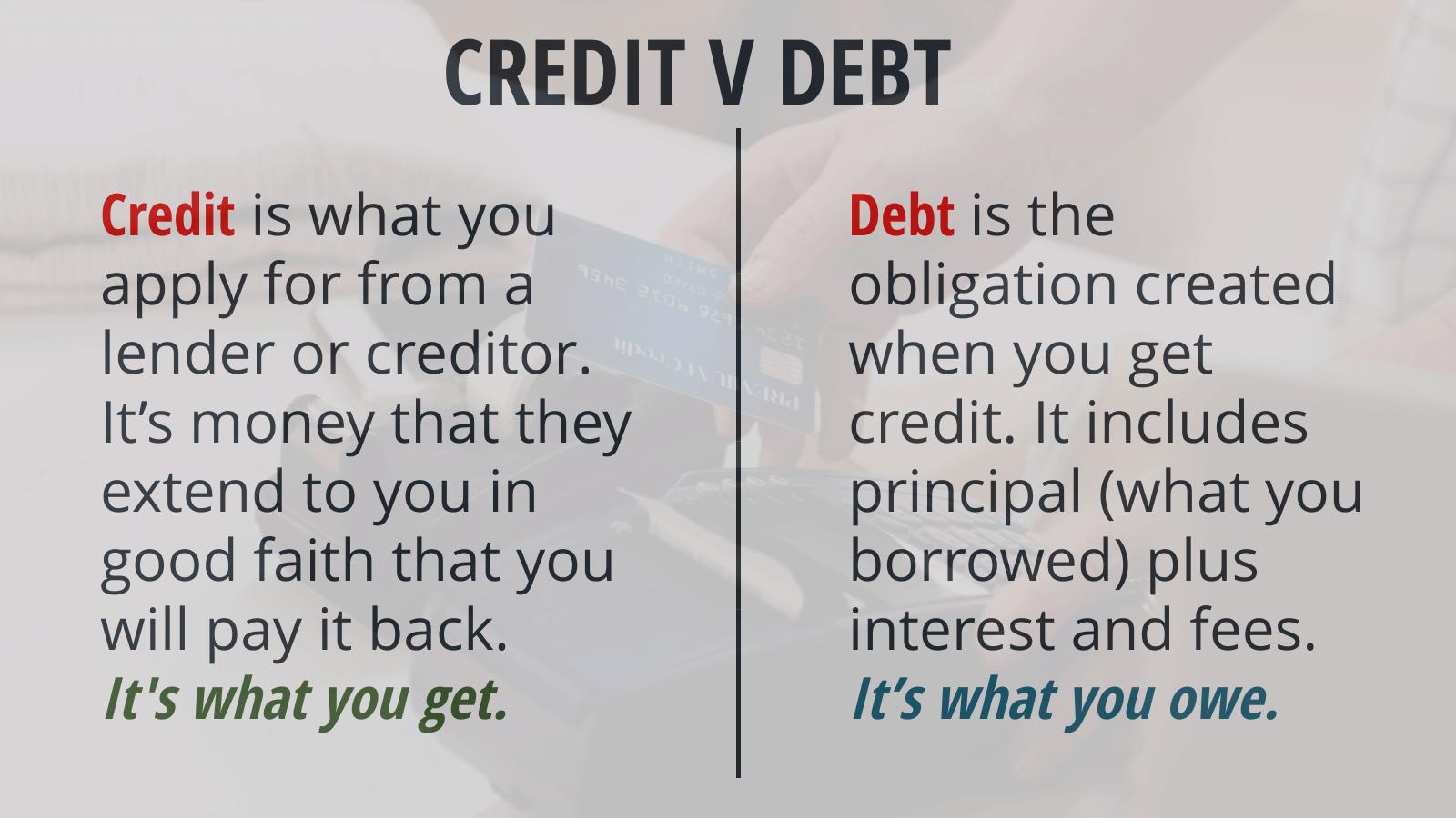 Compare credit vs debt