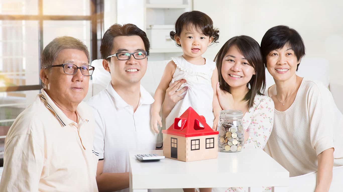 Asian multi generations lifestyle at home