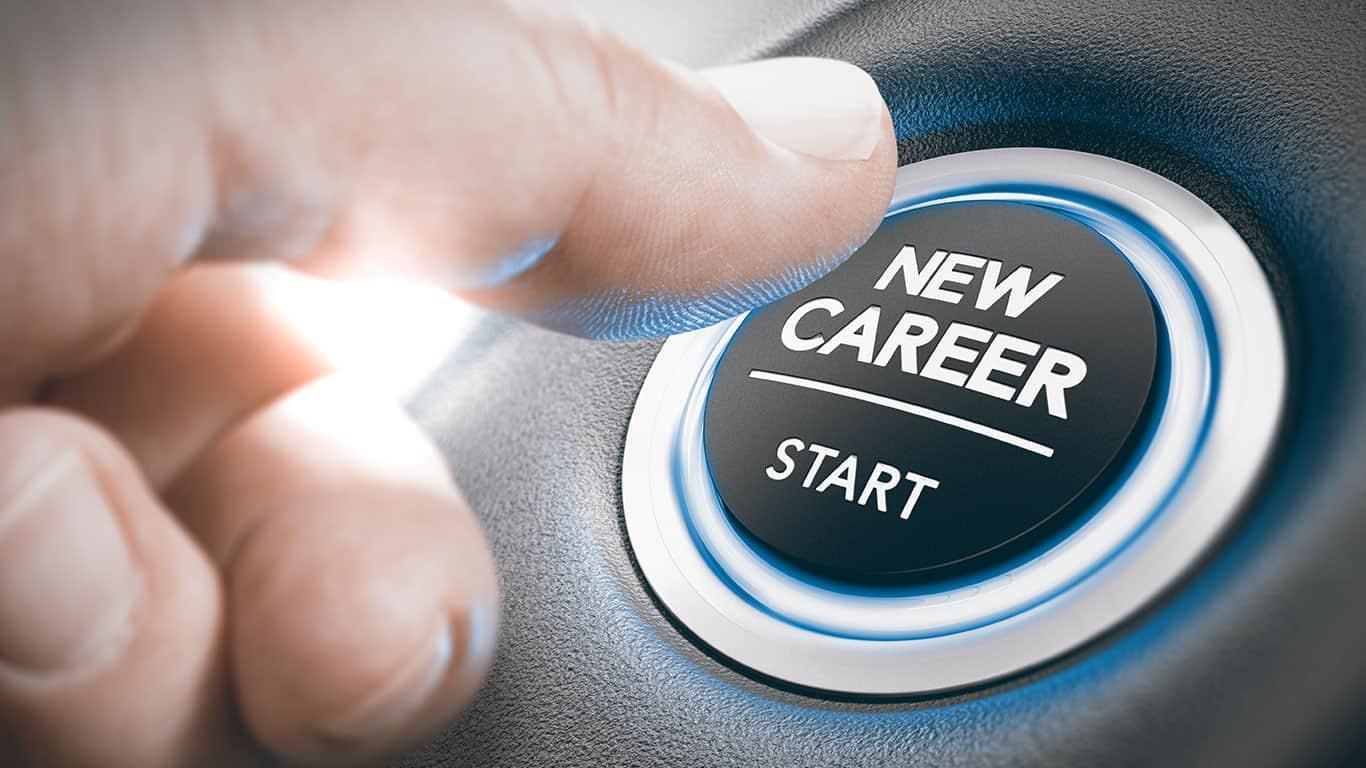 Finger pressing a new career start button