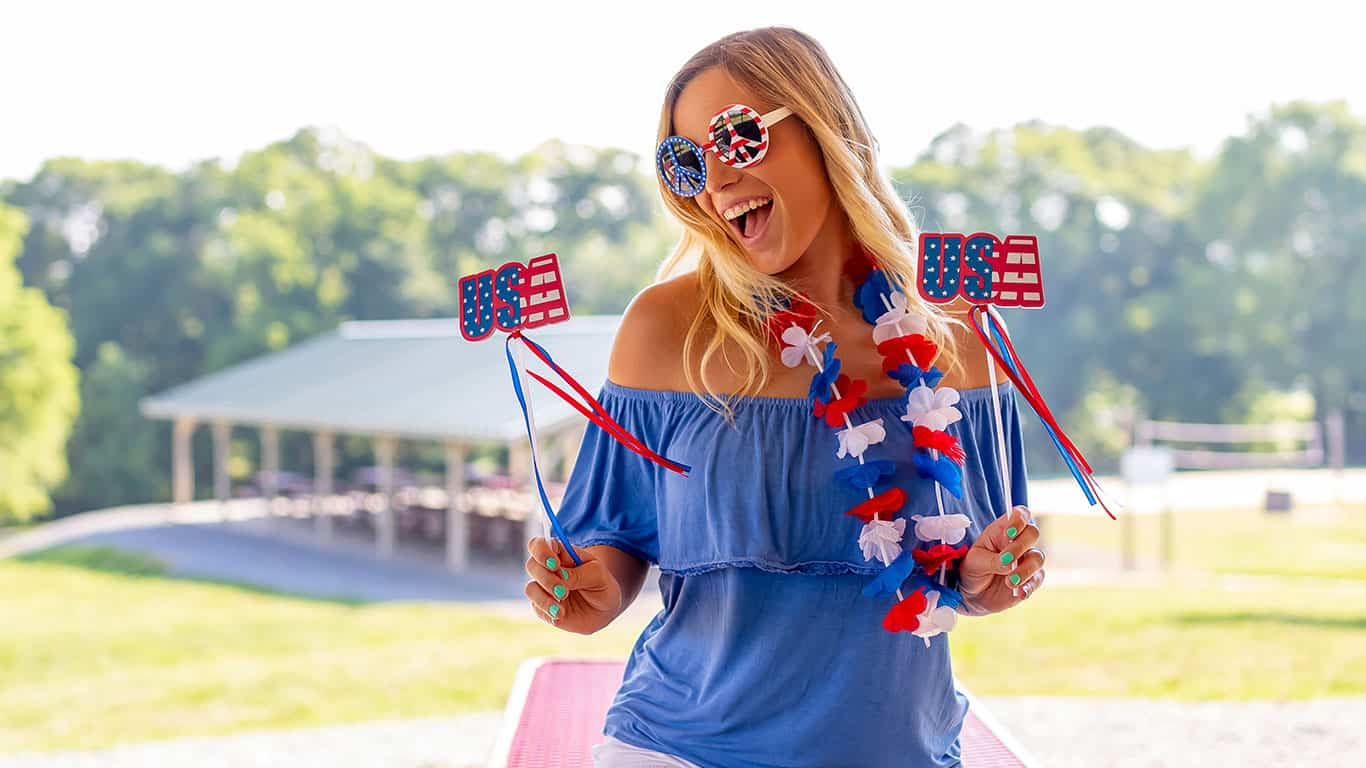 A patriotic blonde model having fun during the 4th of July holiday