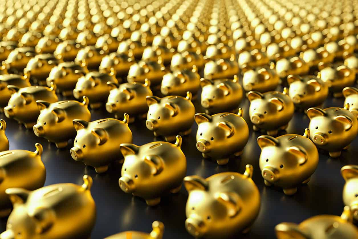 Row of piggy banks, gold luxery concept